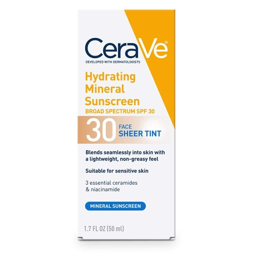 CeraVe Tinted Sunscreen with SPF 30 | Hydrating Mineral Sunscreen With Zinc Oxide & Titanium Dioxide | Sheer Tint for Healthy Glow | 1.7 Fluid Ounce