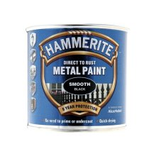 Hammerite SFBL250 Direct to Rust Smooth Finish Metal Paint Black 250ml