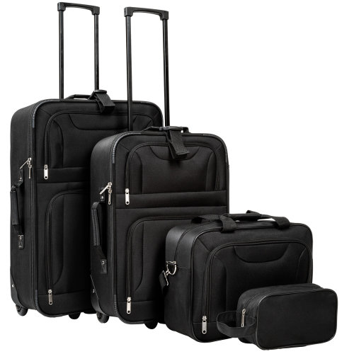 Suitcase set soft shell 4-PC - black