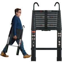 3.2M  Aluminum Telescopic Attic Ladder for Home Loft Ladder with Detachable Hook, Safety Design Portable Extension Ladder, Max Capacity 150KG
