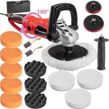 tectake Polishing machine rotary handle 1600W - polishing machine, car polishing machine, car buffer - 18 pc. set