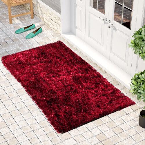 """(60 x 110 cm-(2'x3'7""""), Natty Red) Non Slip Shaggy Thick Pile Glitter Door Floor Mat Indoor Outdoor"""