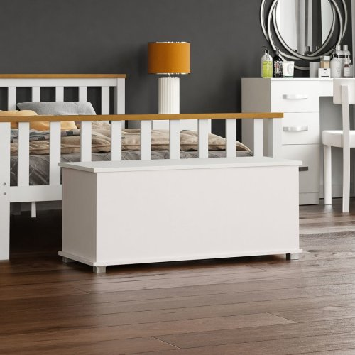 (White) Home Discount Leon Storage Chest | Wooden Toy Box