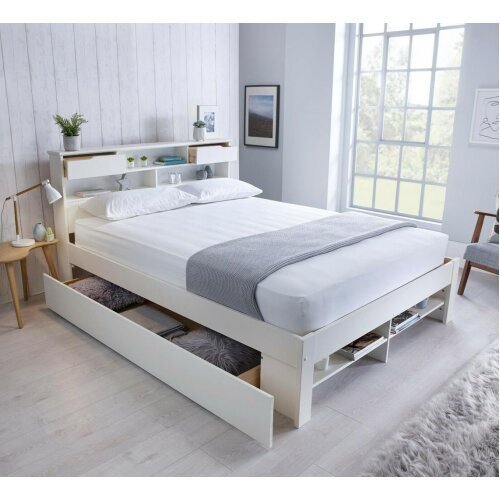 (King, 0 Drawer) Fabulous Wooden Bed White Storage Bed Book Shelves