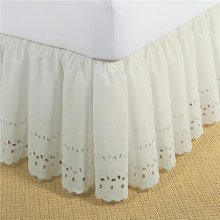 Fresh Ideas FRE30014IVOR01 Bed Skirt Ruffled Eyelet  Ivory - Twin