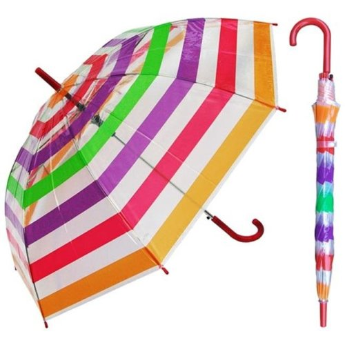 RainStoppers W3466STRIPE 46 in. Auto Open Assorted Stripe Printed Clear Dome Umbrellas, 4 Piece