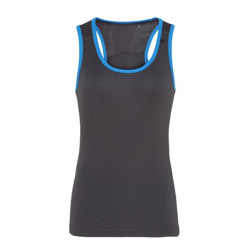 (Charcoal/Sapphire, XS) TriDri Womens Panelled Fitness Gym Running Sports Fitness Workout Vest Top Tee