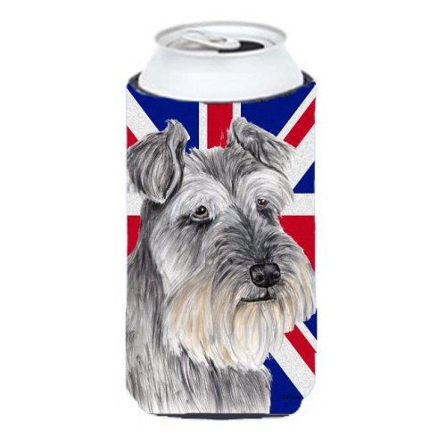 Schnauzer With English Union Jack British Flag Tall Boy bottle sleeve Hugger - 22 To 24 Oz.