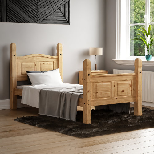 (Single) Corona Mexican Solid Pine Bed Frame High Foot End