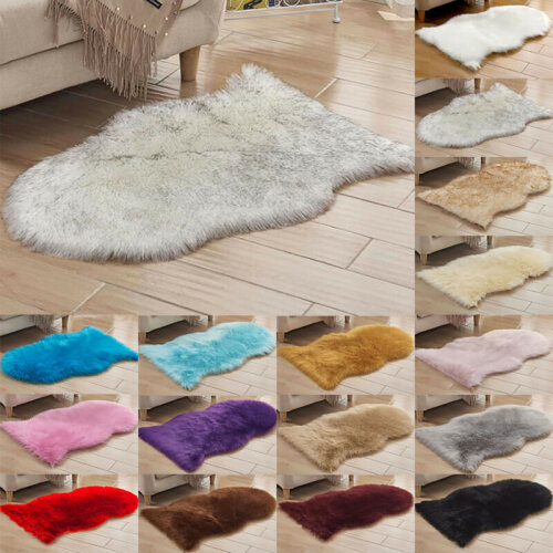 Small Large Fluffy Faux Fur Shaggy Area Rugs Soft Hairy Cover Carpet Home Decor
