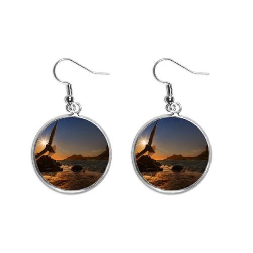 Oman Country Flag Name Ear Dangle Silver Drop Earring Jewelry Woman