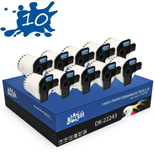 RINKLEE DK-22243 DK22243 Continuous Labels Compatible with Brother P-Touch | 102 mm x 30.48 m | 10 Rolls