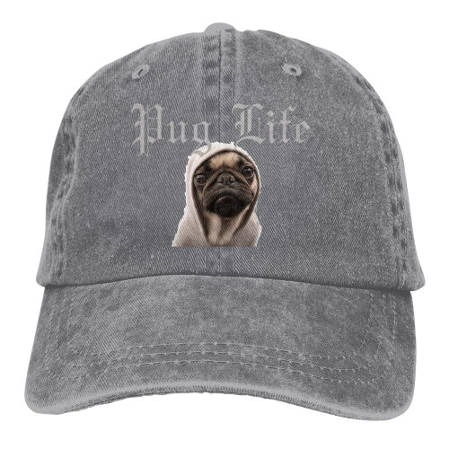 Pug Life Dog Denim Baseball Caps