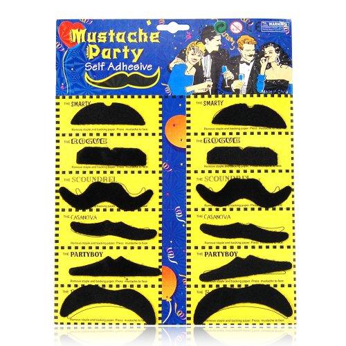 Trixes 12pc Self-Adhesive Fake Moustaches | Stick-On Moustache Set
