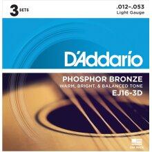 D'Addario EJ16-3D Phosphor Bronze Acoustic Guitar Strings Light 12-53 3 Sets