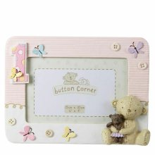 """Button Corner Resin Photo Frame 1st Birthday?Baby Frame With Teddy?Pink?6"""" x 4""""?"""
