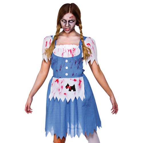 Ladies Zombie Country Girl Wig Dorothy Halloween Horror Fancy Dress Accessory