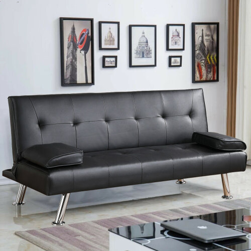 (Black) 3 Seater Sofa Bed Faux Leather Various Colours