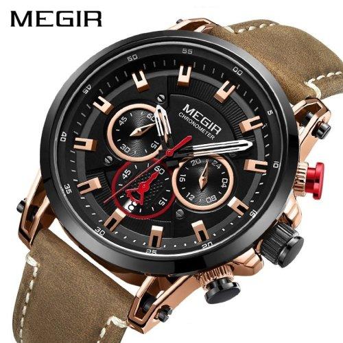 Mens Chronograph Watches Top Brand Luxury Megir Sport Military Men's Quartz Watch Leather Strap WristWatch Waterproof Male Clock