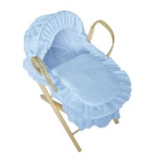 Beautiful Dolls Moses Basket Broderie Anglaise Blue (Basket Only)