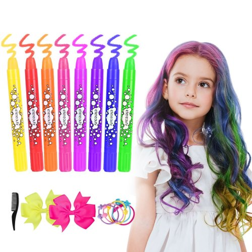 Hair Chalk for Girls Kids, Temporary Hair Chalk Pens 8 Colourful, Washable Hair Dye Chalk for Girls Gifts Kids Toys Birthday Present Themed Parties...