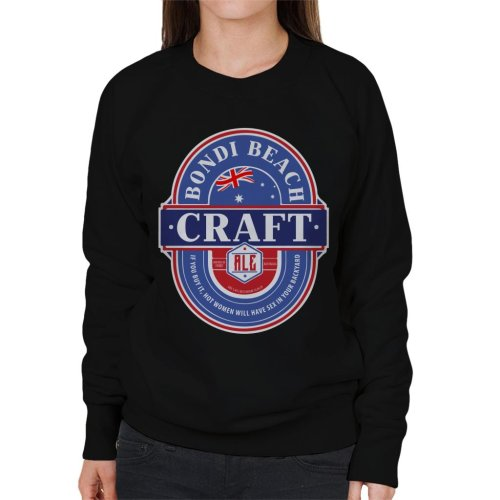 (Large, Black) Bondi Beach Craft Ale Women's Sweatshirt