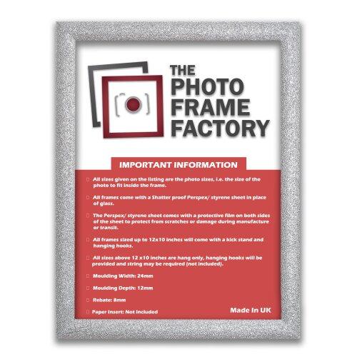 (Silver, A5 - 210x148mm) A1,A2,A3,A4,A5,A6 Glitter Sparkle Photo Frames