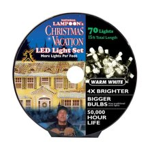 National Lampoons 9466327 15 ft. LED Concave 8 mm Christmas Lights  Warm White - 70 Lights