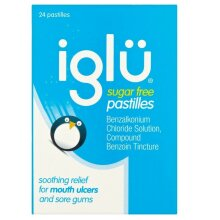 3 x Iglu Sugar Free Pastilles Relief For Mouth Ulcers & Sore Gums 24 Pastilles