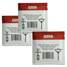 3x Gervin GV8 Wine Yeast 5g Red Table Wine like Bordeaux or Claret 5-23L
