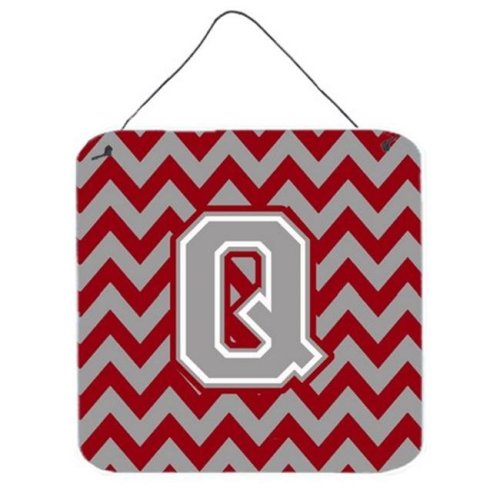 Letter Q Chevron Crimson & Grey Wall or Door Hanging Prints