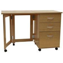 FLIPP - 3 Drawer Folding Office Storage Filing Desk / Workstation - Oak