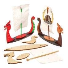 Baker Ross AW671 Viking Longboat Kits (Pack of 3), Wooden