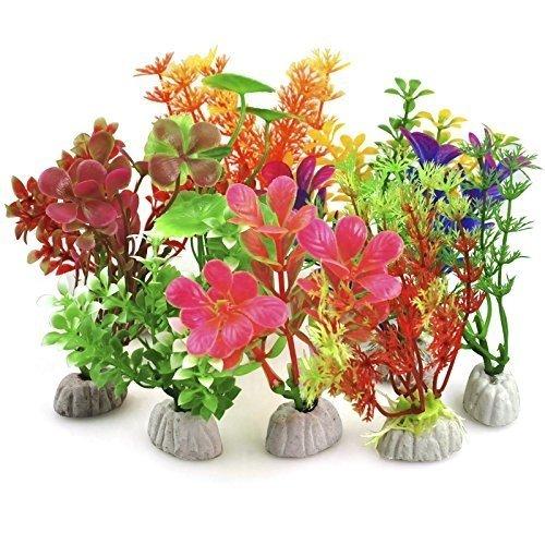 Digiflex 10pc Mixed Aquarium Plants | Plastic Fish Tank Plants