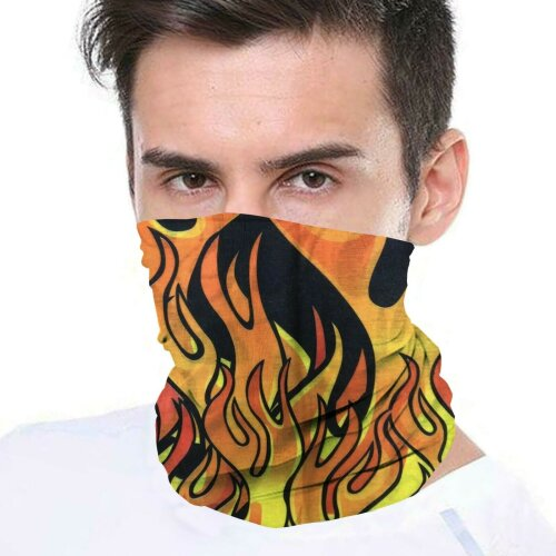 (Flames) Bandana Face Covering Mask Biker Tube Snood Scarf Neck Cover
