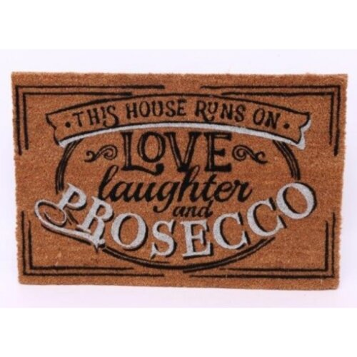 Heavy Duty Doormat This House Runs On Love Laughter And Prosecco  40 x 60cm