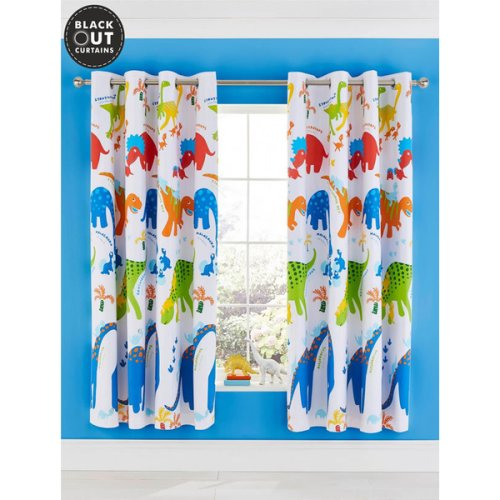 Catherine Lansfield Dino-Saw Blackout Eyelet Curtains Bright 66 x 72 Inch