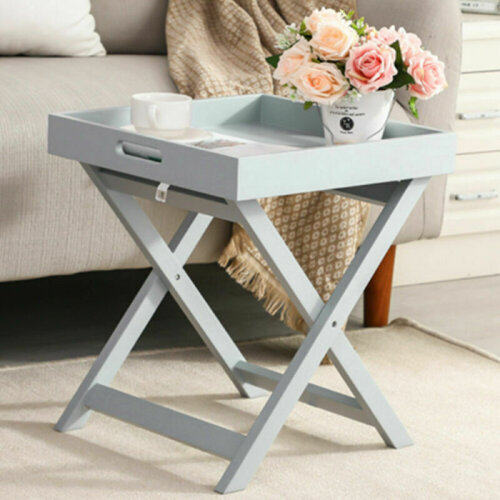 Grey Wooden Butler Table