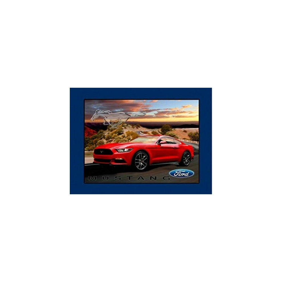 90cm x 110cm Red Ford Mustang Large Panel Cotton Print Quilting Fabric