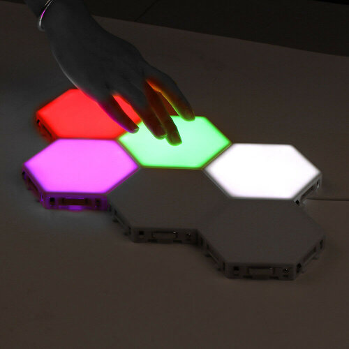 Magnetic Modular Quantum Hexagonal Wall Lamp Touch Sensitive Night RGB Lighting