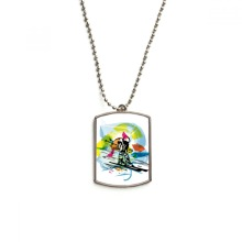 Winter Sport Freestyle Skiing Illustration Stainless Steel Chain Dog Tag Pendant Pet Necklace