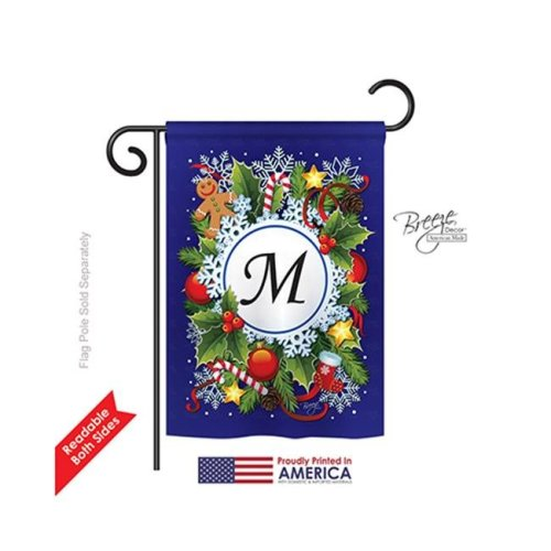 Breeze Decor 80091 Winter M Monogram 2-Sided Impression Garden Flag - 13 x 18.5 in.
