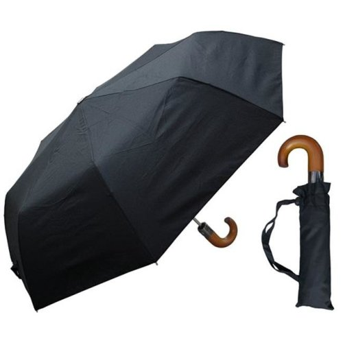 RainStoppers W3424 44 in. Auto Open Black Super Mini Umbrella with Thick Wood Handle, 12 Piece
