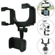 Adjustable Car Rearview Mirror Clip Mount GPS Bracket Phone Holder