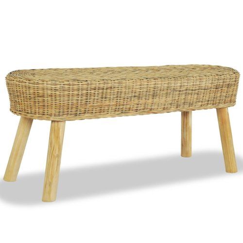 vidaXL Hall Bench 110x35x45cm Natural Rattan Home Entryway Furniture Seat