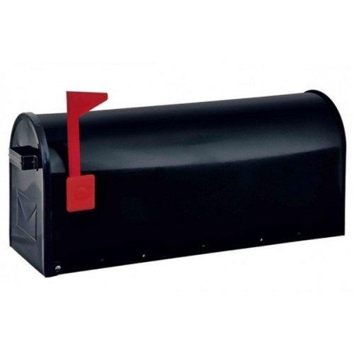 American USA Stylish Black Steel Mailbox Red Flag Rottner