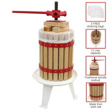 KuKoo 12 Litre Fruit Press Crusher Wine Making Tool Cider Kit Grape Pear Apple-Juice Berry - 3 x FREE Press Bags