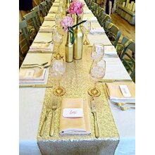 Sequin Table Runner Champagne Gold, 12 X 72 inches