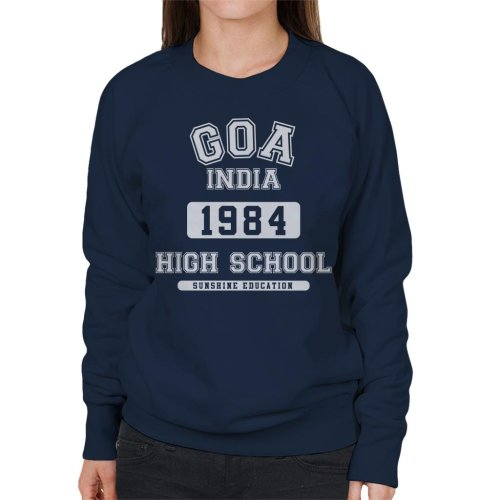 (XX-Large, Navy Blue) Goa India High School Women's Sweatshirt