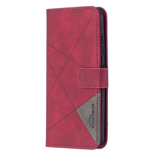 NOKIA 1.4 Case Premium PU Leather Folio Cover Magnetic -Rosy red